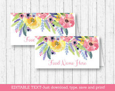Watercolor Flowers Floral Buffet Tent Cards & Place Cards Editable PDF
