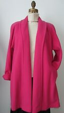 Vintage 70's-80's Made USA Hot Pink WOOL Open Front A-Line SWING COAT Sz 8 Pet