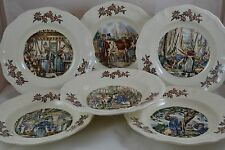 Set of 6 Sarreguemines Ma Normandie Rimmed Soup Bowls Different Scenes