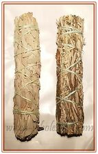 "LOT of 2 Sage Smudge 4"" to 5"" Stick ONE WHITE AND ONE BLACK House Cleansing"