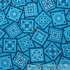 BonEful Fabric Cotton Quilt Aqua Blue White Black Flower Dot Boy Bandana L SCRAP
