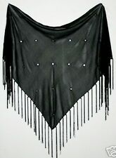 Blck Fringe Gypsy Gothic Tribal Belly Dance Dancing Fringe Mirror Hip Scarf Belt