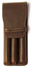 Aston Leather Triple Pen Case - Brown