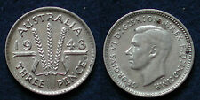 MONETA COIN AUSTRALIA KING GEORGE VI° THREE PENCE 1943 - ARGENTO SILBER SILVER
