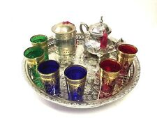 Mint Tea set Moroccan MAROC  Tea set Moroccan Teapot 6 Tea Glasses Cup