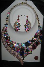 MURANO ART GLASS BALLROOM DANCE JEWELRY MULTI-COLOR NECKLACE EARRING SET w/Label