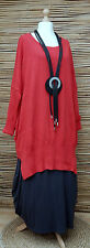 "LAGENLOOK 100% COTTON OVERSIZE LONG JUMPER/TUNIC*RED*BUST UP TO 60""OSFA XL-XXXL"