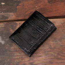 Black Eel Trifold Wallet Amish Hand Made from Genuine Eel Skin Tri Fold