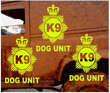 3 x FLUORESCENT YELLOW K9 DOG UNIT VEHICLE STICKER DECALS              (s335)