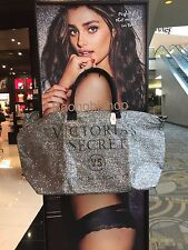 Victorias Secret 2015 Limited Edition Glitter Weekender Tote Bag SILVER NWT