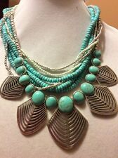 $85 Lucky Brand Semi Precious Turquoise Beaded Necklace BT 24