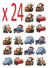 24 Disney Cars Christmas STAND UP Cupcake Cake Toppers Edible decorations  cake
