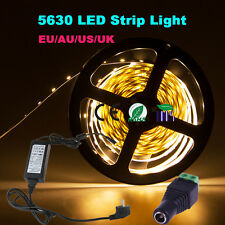 Dimmable 5M 5630 SMD Warm Cool White 300 LED Strip Light +RF Dimmer+12V Power+DC