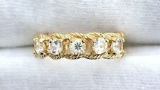 10Kt REAL Yellow Gold 3.5mm White Sapphire Ladies Gemstone Gem Ring EBS199R74