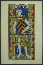 1340 Gilbert De Clare Stained Glass Henry Shaw 1858 Hand Coloured Print