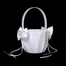 Ivory Satin Bowknot Flower Girl Basket for Wedding Ceremony Favors Party Decor