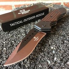 """8"""" Tactical Spring Assisted Opening Rescue Pocket Knife New Brown Blade SE-213TN"""