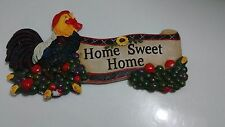 Beautiful Rooster Home Sweet Home Plaque Sun Flower, Corn and Vegetables