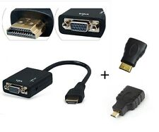 HDMI Male to VGA Female with Audio + HDMI TO Mini Micro HDMI adapter 3in1 cable