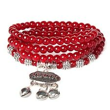 Top Quality Deep Agate Beaded Good Luck Bracelet Fashion Men Women Bangle Red