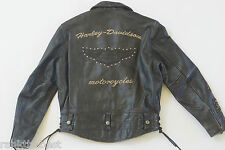 Harley Davidson Mens Vintage V-Twin Studded B&S Distressed Leather Jacket M Rare