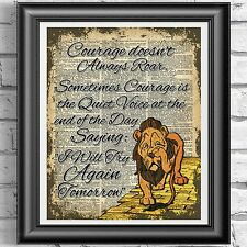 Wizard Of Oz Lion Courage Quote Vintage Dictionary Page Print Picture Wall Art