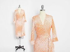 DVF Diane Von Furstenberg Wrap Dress SILK Orange Julian Vintage sz 12 Large