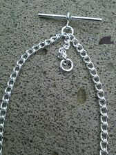SILVER PLATED DOUBLE ALBERT POCKETWATCH CHAIN- 19 grams