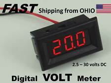 Solar Panel LED Digital Volt Meter - FLUSH Panel Mount - voltmeter - RED display