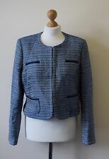 Bnwt Collection By John Lewis Blue Boucle Tweed Crop Jacket - UK 14 (R114)