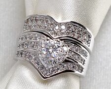 Sz9 Bridal Sets 10KT White Gold Filled Zircon CZ Heart Women's Wedding Ring Sets