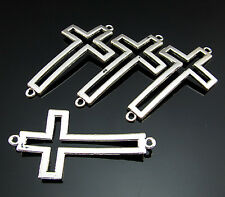 Free 5PCS Tibetan Silver Crafts hollow cross spacer Pendant Connector bails 54mm