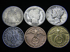 Nazi Coin 3rd Reich 1937-1945, Seated, Barber, Mercury Silver Dime US German Lot