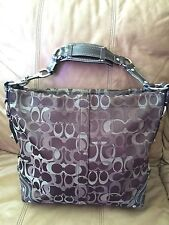 Pretty In BROWN EXTRA Large COACH Carly Optic Signature handbag Coach 13981