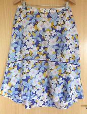 Weird Fish Damas Falda Talla 12 Azul Amarillo Floral Vacaciones de Verano Casual de una línea