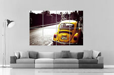 VOLKSWAGEN COCCINELLE JAUNE BEETLE  Wall Art Poster Grand format A0 Large Print