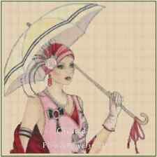 Counted Cross Stitch ART DECO LADY in Pink with Umbrella COMPLETE KIT #1vb-36