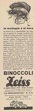 Z3081 Binoccoli ZEISS - La Meccanoptica - Pubblicità - 1933 old advertising