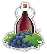 Wine Bottle Grapes Car Bumper Sticker Decal 4'' x 5''