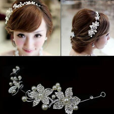 Boho Flowers Pearl Wedding Bridal Headpiece Headdress Decoration Tiara Hair Prom