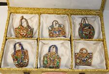SIX PIECE VINTAGE MINIATURE OPEN ENAMEL CLOISONNE PURSE PENDENTS SET IN BOX