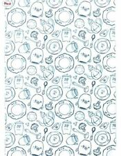 IKEA Pirjo Tea Party Fabric by YARD,Teal Turquoise Blue White Coffee Cup Kitchen