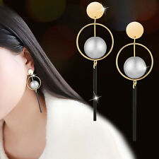 Chic Gold Plated Pearl Ball Dangle Drop Earrings Women Fashion Wedding Jewelry