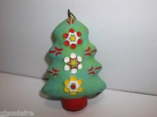 Vintage Mexican Folk Art Pottery CHRISTMAS TREE Ornament LIME GREEN