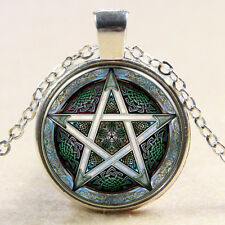 Vintage star Cabochon Silver plated Glass Chain Pendant Necklace M#04