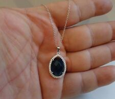 925 STERLING SILVER DESIGNERS NECKLACE PENDANT W/ 8 CT TANZANITE & DIAMOND/18''