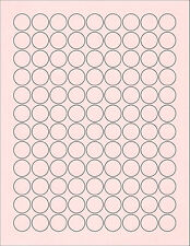 "6 SHEETS 3/4"" ROUND CIRCLE BLANK PINK STICKERS LABEL"