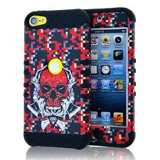 For iPod Touch 5th 6th Gen HARD SOFT IMPACT COVER CASE RED PIXEL CAMO SKULL