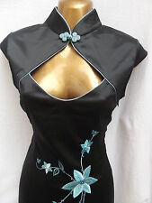 Oriental Chinese Black Turquoise  MANDARIN dress size 8 10