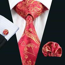 NEW ITALIAN DESIGNER RED & GOLD PAISLEY SILK TIE, HANKY, CUFFLINKS